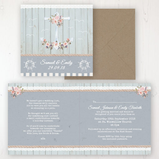 Anchored in Love Wedding Invitation - Folded Personalised Front & Back with Rustic Envelope