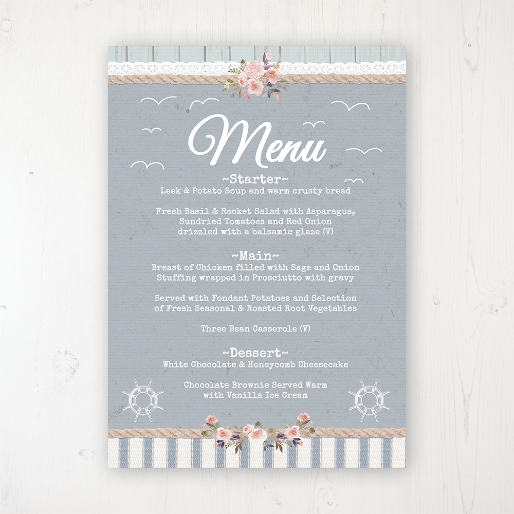 Anchored in Love Wedding Menu Card Personalised to display on tables