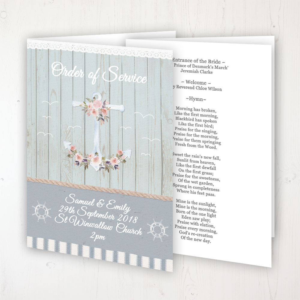 Anchored in Love Wedding Order of Service - Booklet Personalised Front & Inside Pages