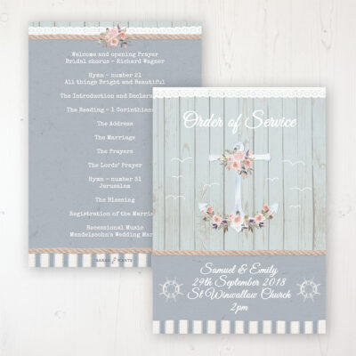 Anchored in Love Wedding Order of Service - Card Personalised front and back