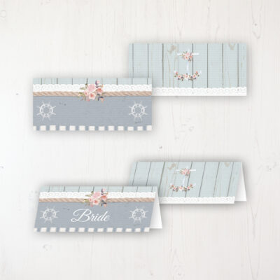 Anchored in Love Wedding Place Name Cards Blank and Personalised with Flat or Folded Option