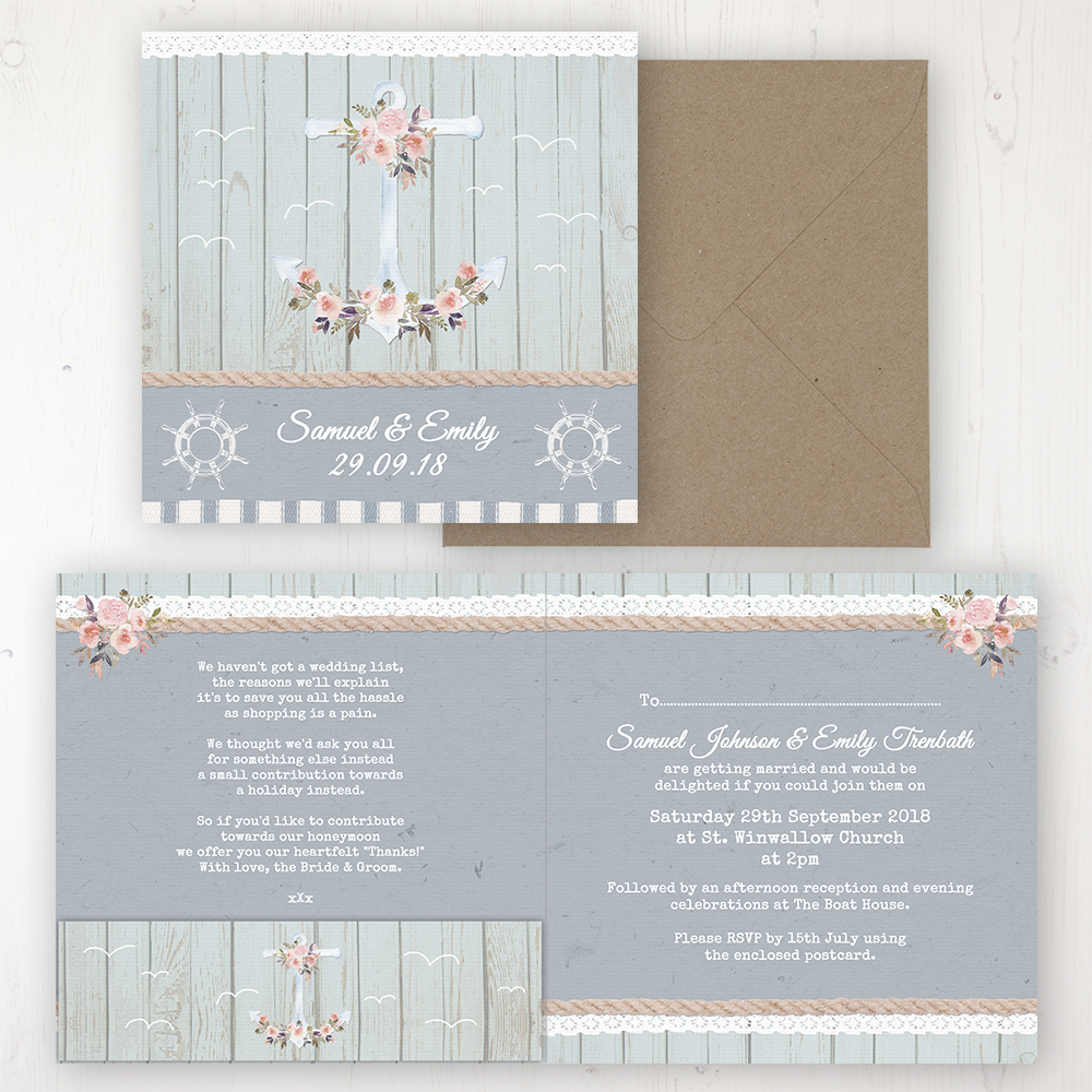 Anchored in Love Wedding Invitation - Folded Personalised Front & Back with Pocket in inside cover. Includes Rustic Envelope