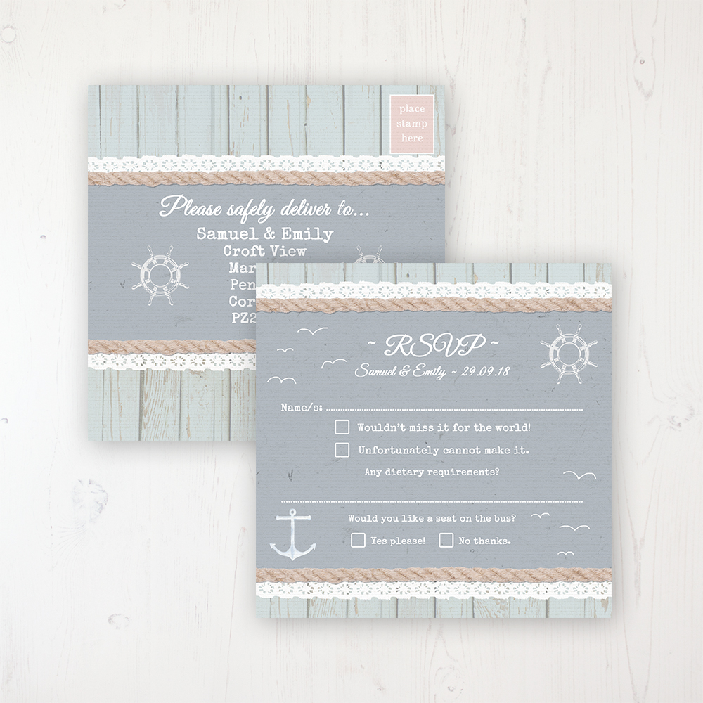 Anchored in Love Wedding RSVP Postcard Personalised Front & Back