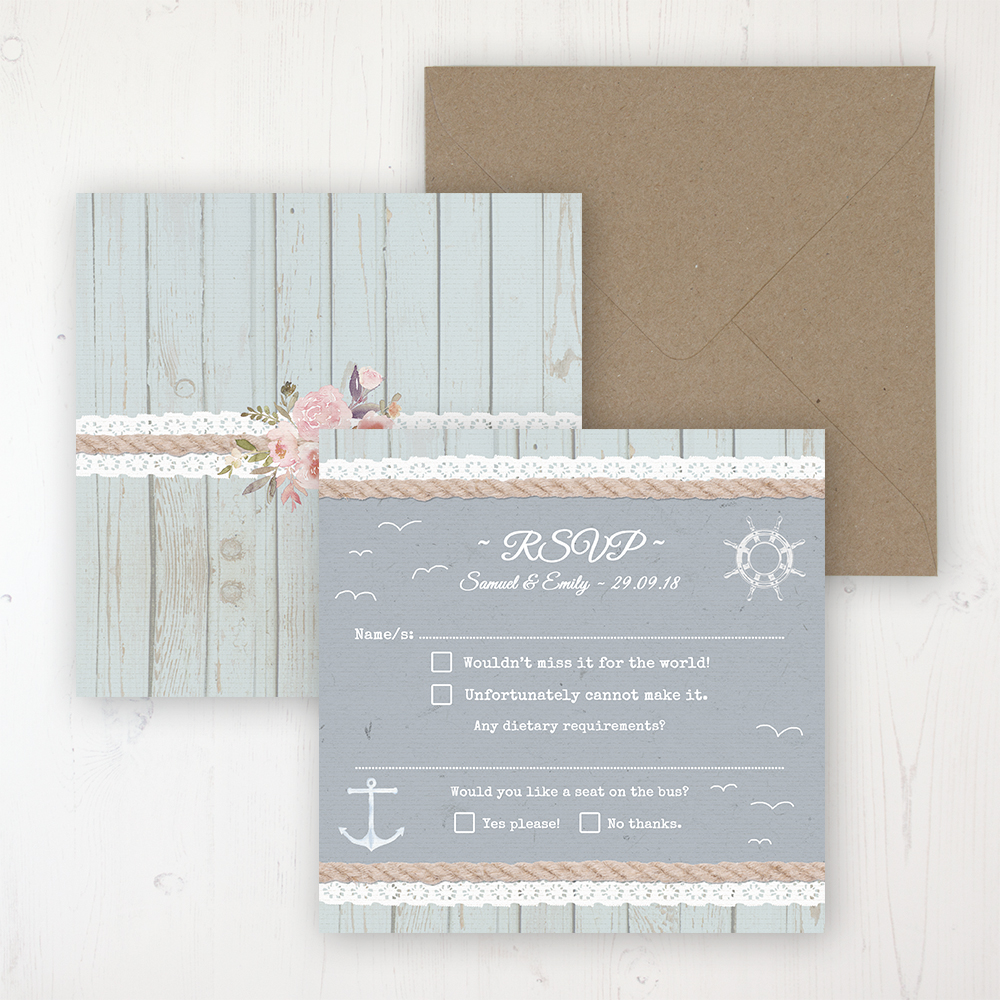 Anchored in Love Wedding RSVP Personalised Front & Back with Rustic Envelope
