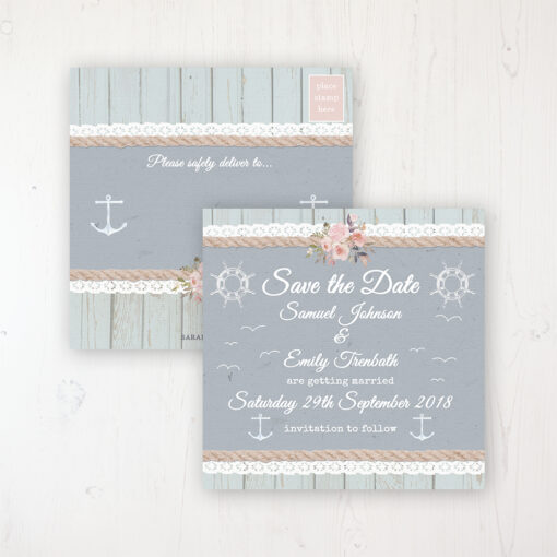 Anchored in Love Wedding Save the Date Postcard Personalised Front & Back