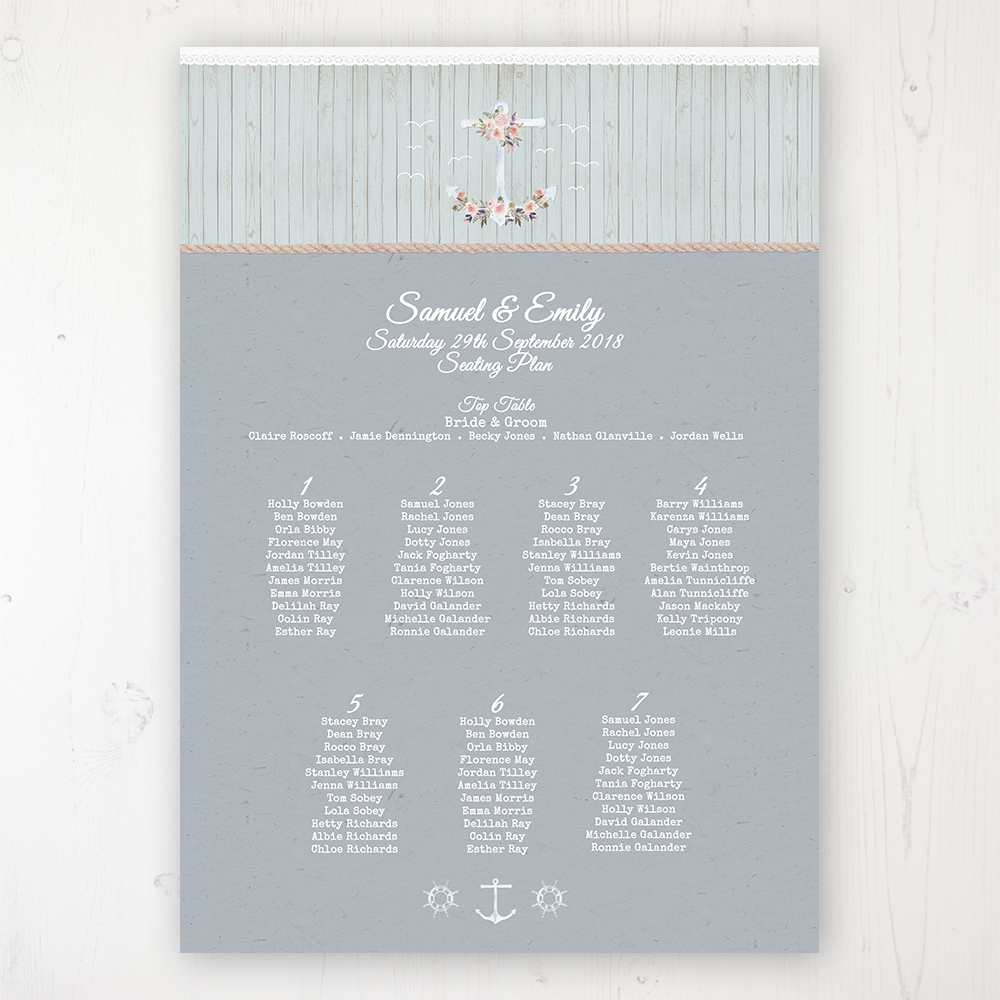 Anchored in Love Wedding Table Plan Poster Personalised with Table and Guest Names
