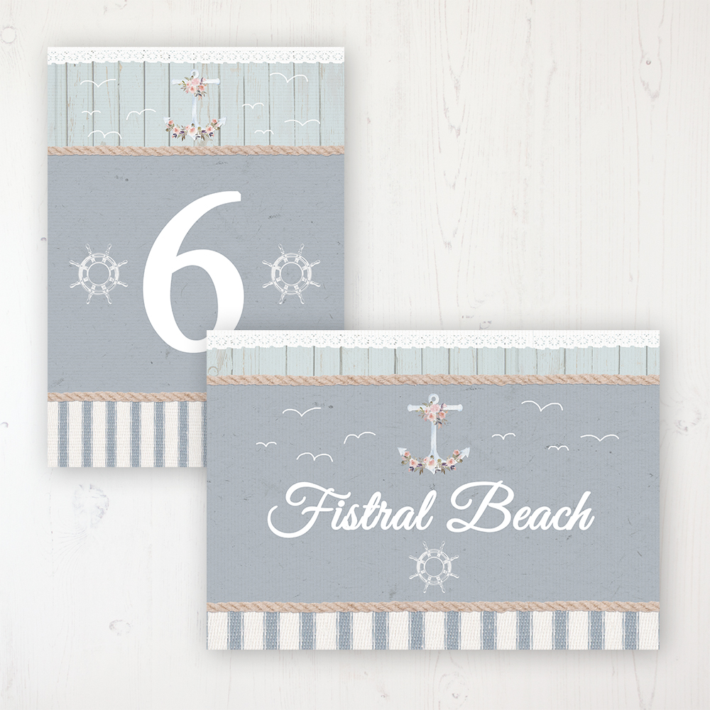 Anchored in Love Wedding Table Name & Number Personalised Table Name Card and Number Card
