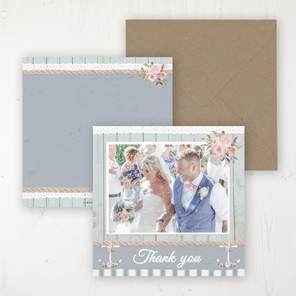 Anchored in Love Wedding with a photo and with space to write own message