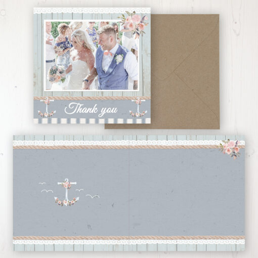 Anchored in Love Wedding Thank You Card - Folded Personalised with a Message & Photo