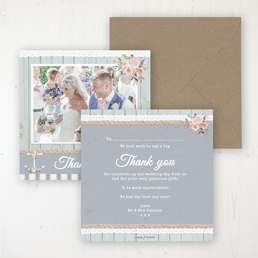 Anchored in Love Wedding Thank You Card - Flat Personalised with a Message & Photo