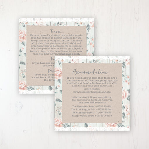 Apricot Sunrise Wedding Info Insert Card Personalised Front & Back