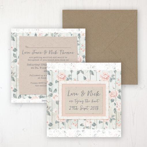 Apricot Sunrise Wedding Invitation - Flat Personalised Front & Back with Rustic Envelope