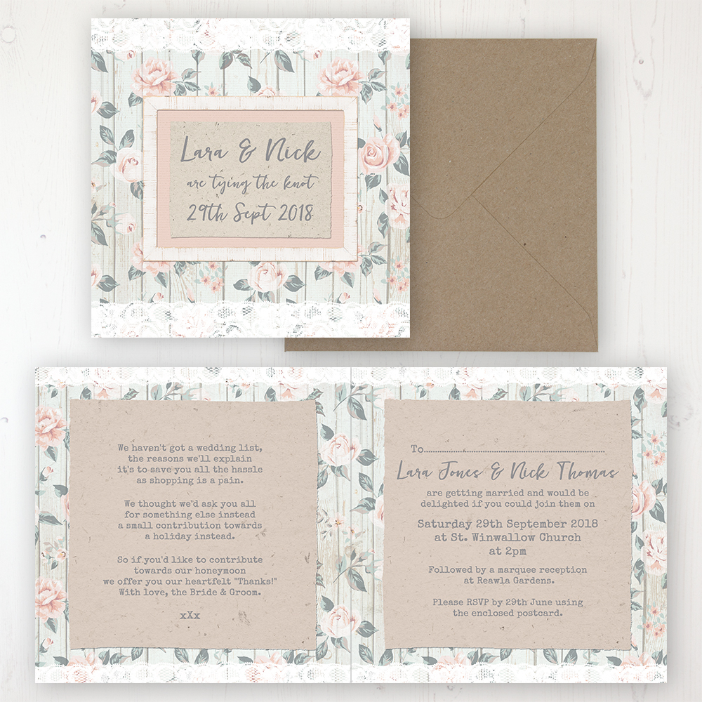 Apricot Sunrise Wedding Invitation - Folded Personalised Front & Back with Rustic Envelope