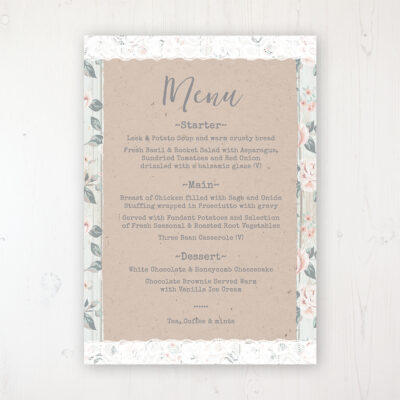 Apricot Sunrise Wedding Menu Card Personalised to display on tables