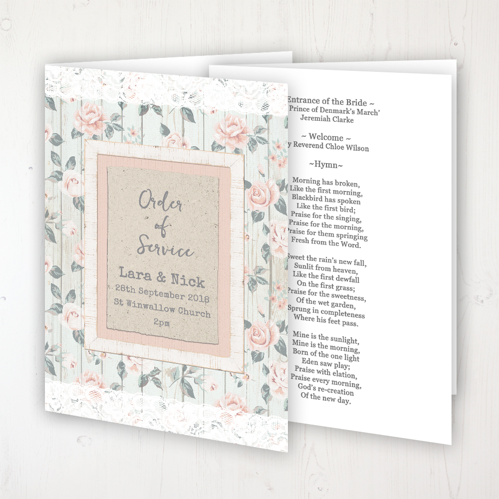 Apricot Sunrise Wedding Order of Service - Booklet Personalised Front & Inside Pages