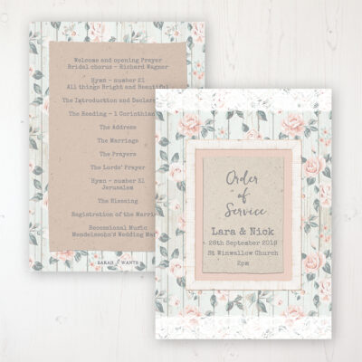 Apricot Sunrise Wedding Order of Service - Card Personalised front and back