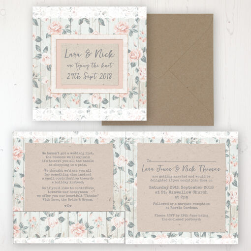 Apricot Sunrise Wedding Invitation - Folded Personalised Front & Back with Pocket in inside cover. Includes Rustic Envelope