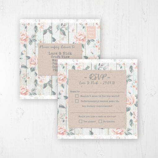 Apricot Sunrise Wedding RSVP Postcard Personalised Front & Back