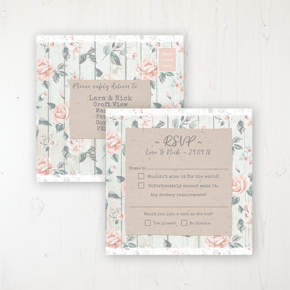 Apricot Sunrise Wedding RSVP Postcard Personalised Front & Back