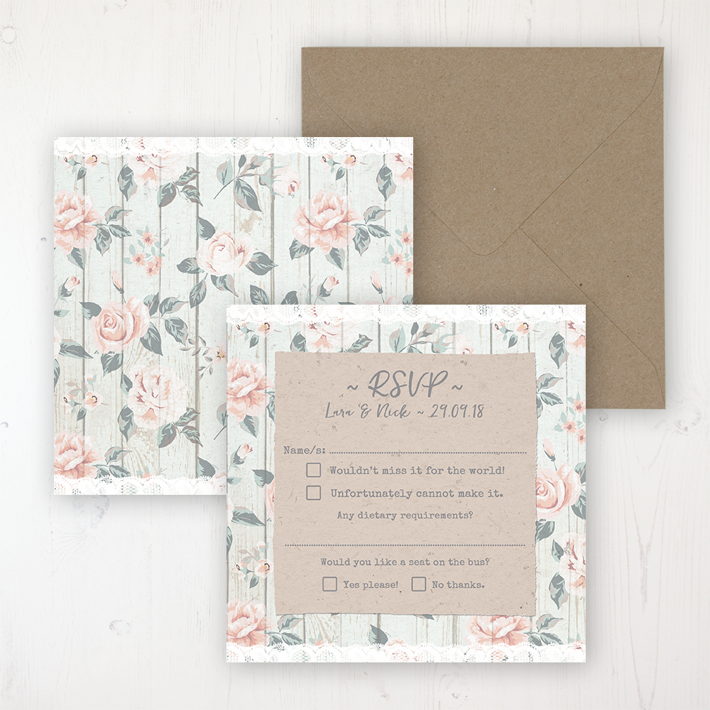 Apricot Sunrise Wedding RSVP Personalised Front & Back with Rustic Envelope