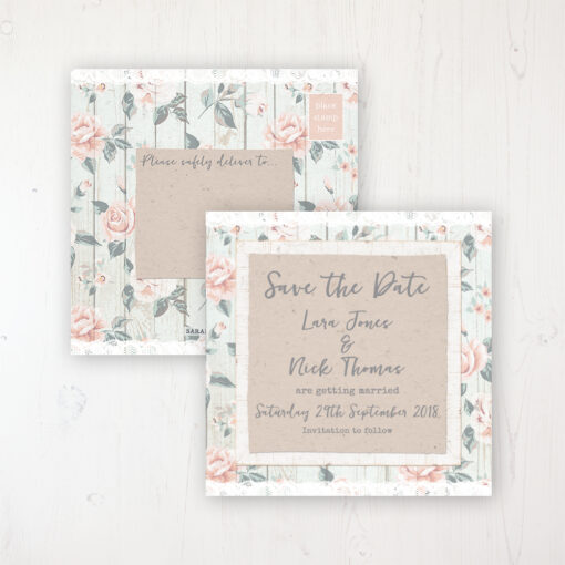 Apricot Sunrise Wedding Save the Date Postcard Personalised Front & Back