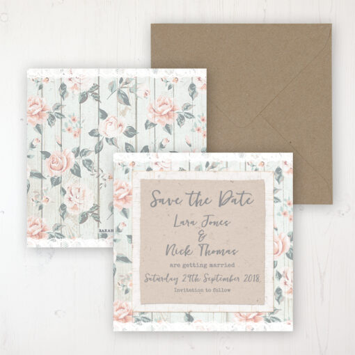 Apricot Sunrise Wedding Save the Date Personalised Front & Back with Rustic Envelope