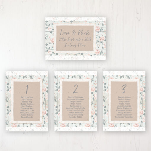 Apricot Sunrise Wedding Table Plan Cards Personalised with Table Names and Guest Names