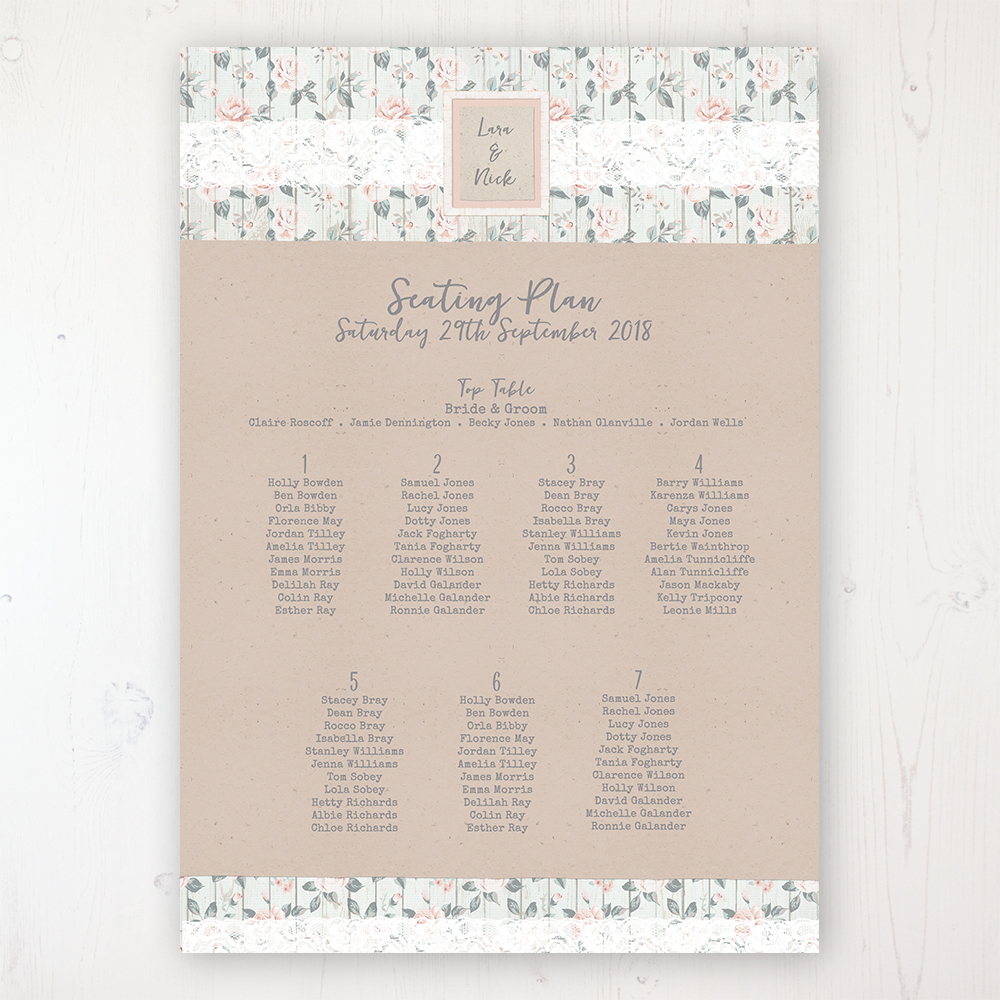 Apricot Sunrise Wedding Table Plan Poster Personalised with Table and Guest Names