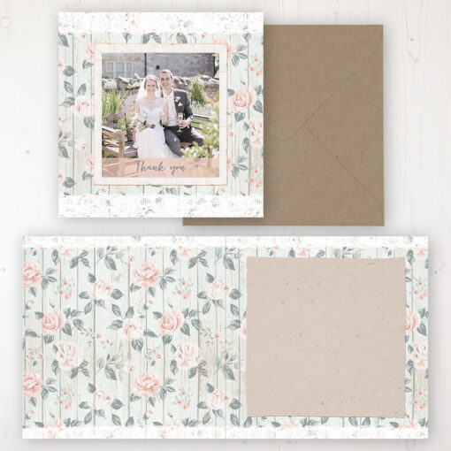 Apricot Sunrise Wedding Thank You Card - Folded Personalised with a Message & Photo