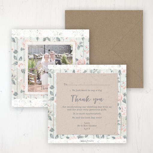 Apricot Sunrise Wedding Thank You Card - Flat Personalised with a Message & Photo