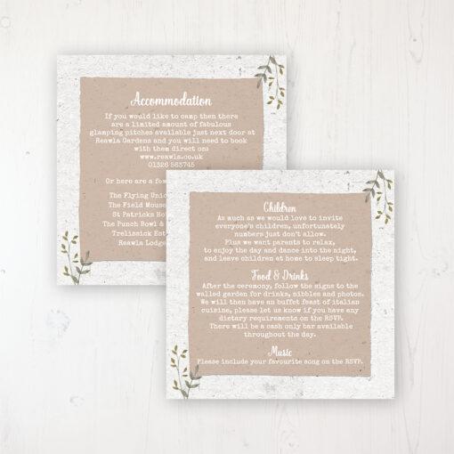 Botanical Garden Wedding Info Insert Card Personalised Front & Back