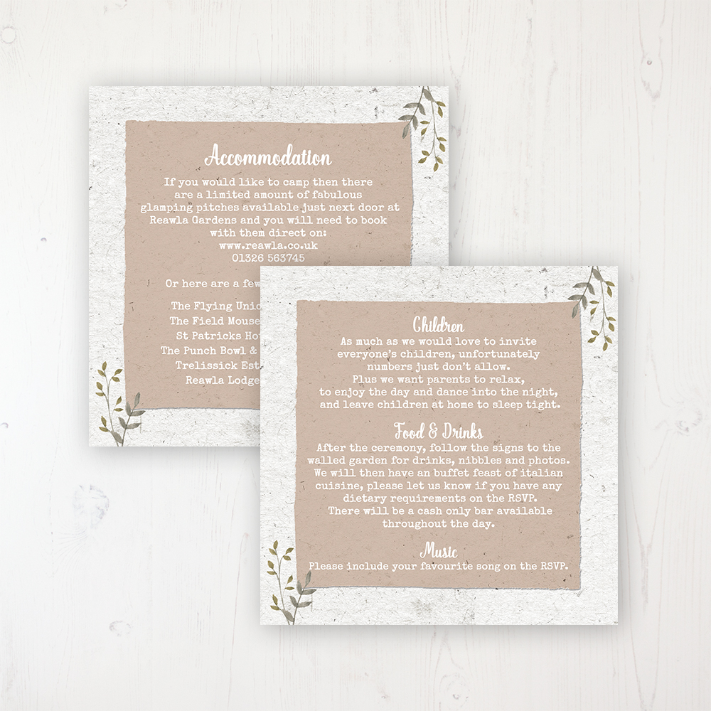 Botanical Garden Wedding Info Insert Card Personalised Front & Back