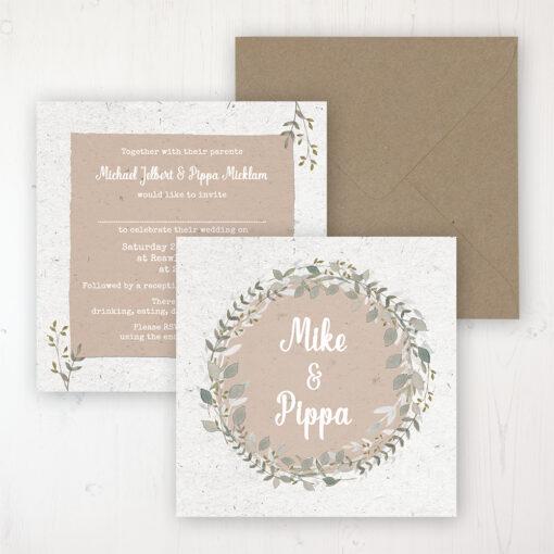 Botanical Garden Wedding Invitation - Flat Personalised Front & Back with Rustic Envelope