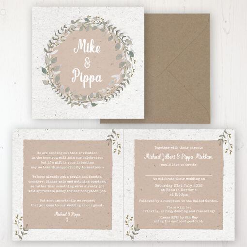 Botanical Garden Wedding Invitation - Folded Personalised Front & Back with Rustic Envelope
