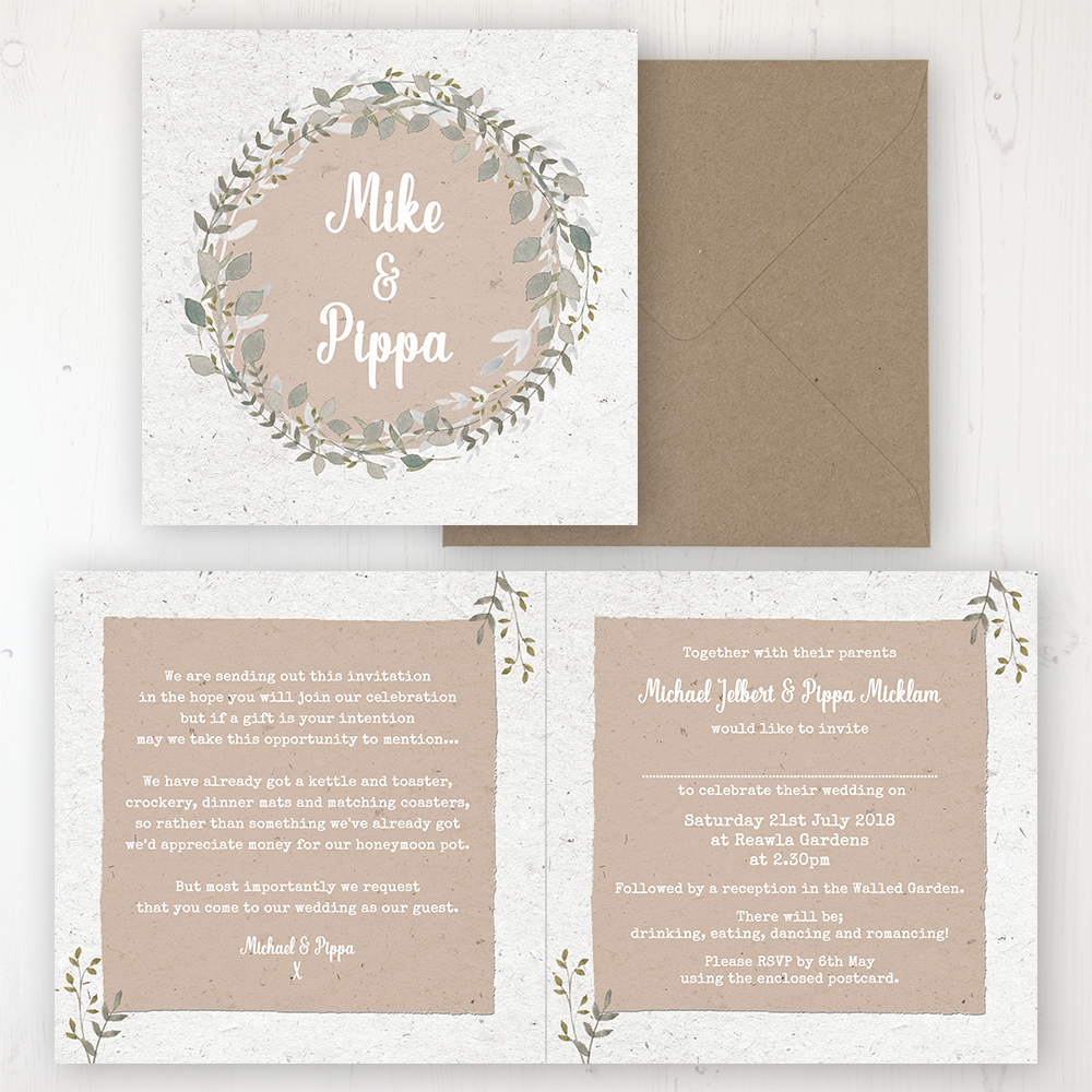 Botanical Garden Wedding Invitation - Folded Personalised Front & Back with Rustic Envelope