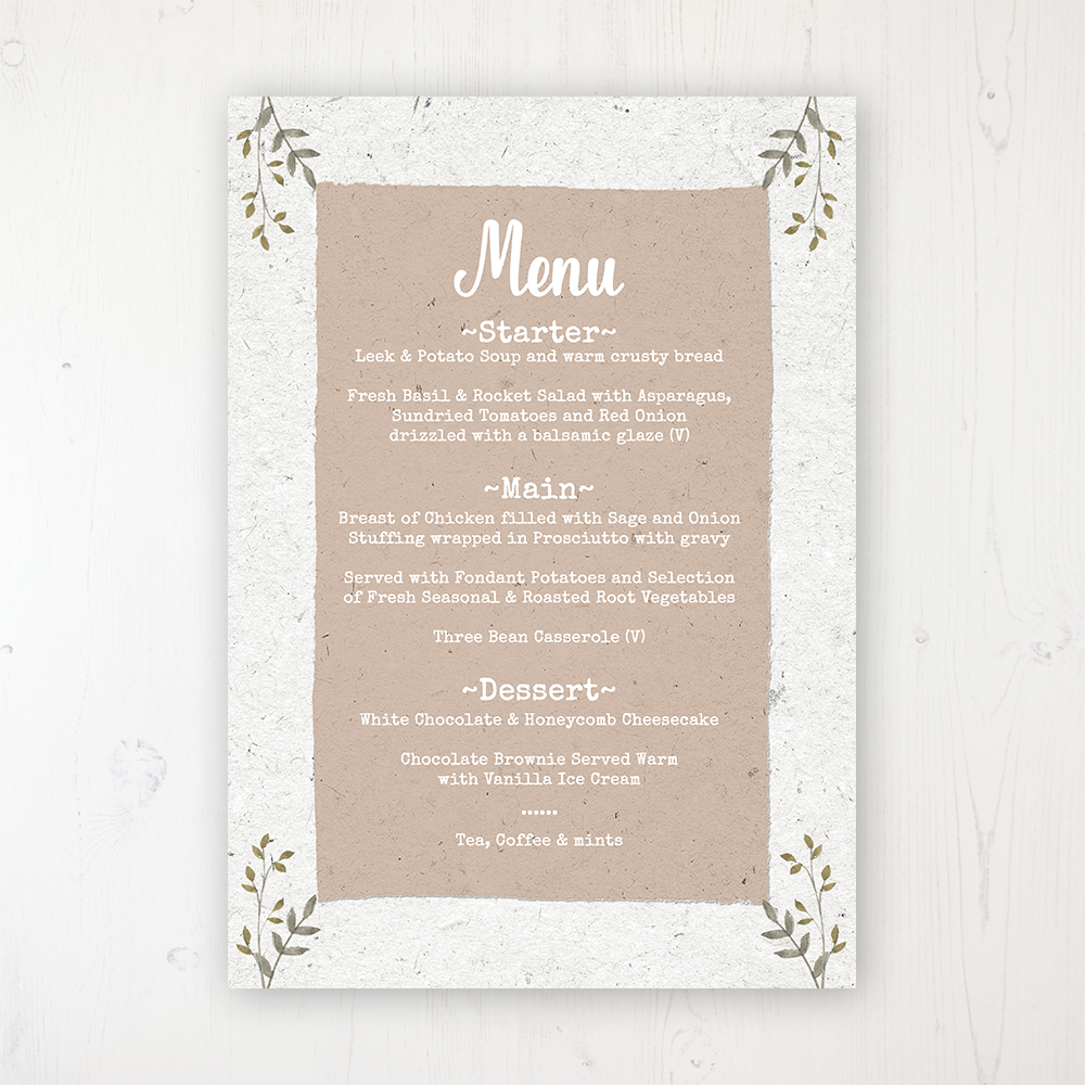 Botanical Garden Wedding Menu Card Personalised to display on tables
