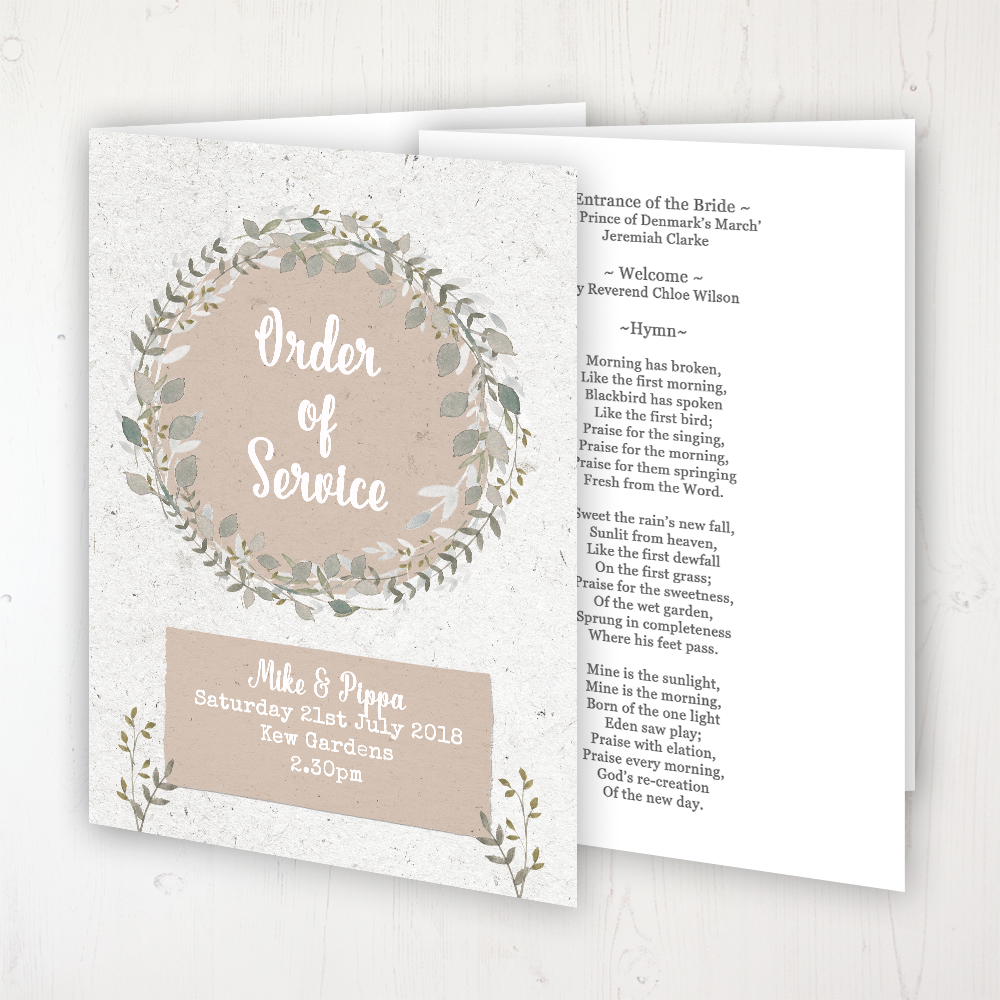 Botanical Garden Wedding Order of Service - Booklet Personalised Front & Inside Pages