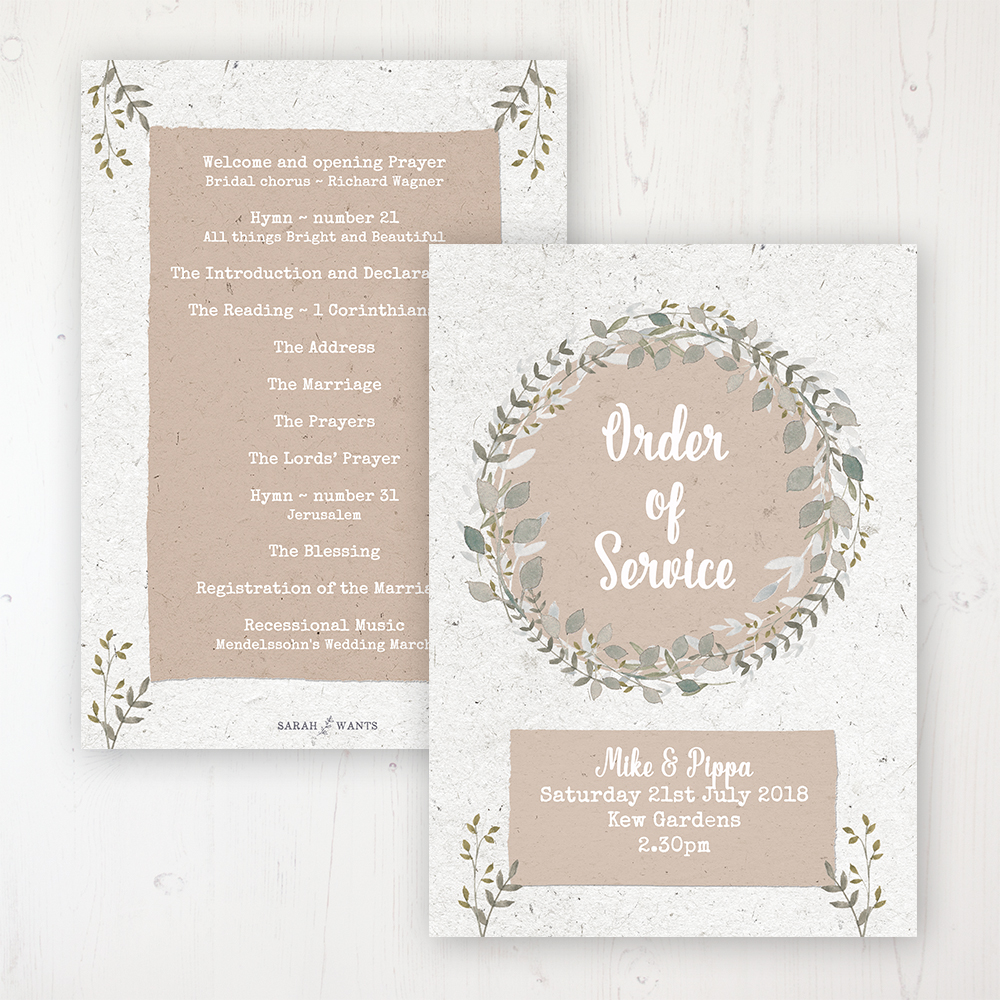 Botanical Garden Wedding Order of Service - Card Personalised front and back