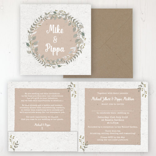 Botanical Garden Wedding Invitation - Folded Personalised Front & Back with Pocket in inside cover. Includes Rustic Envelope