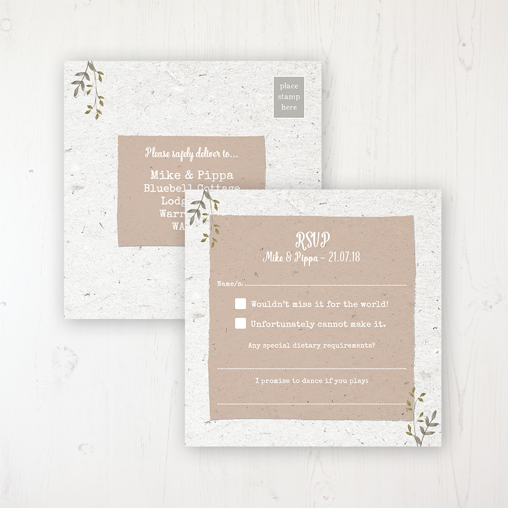 Botanical Garden Wedding RSVP Postcard Personalised Front & Back