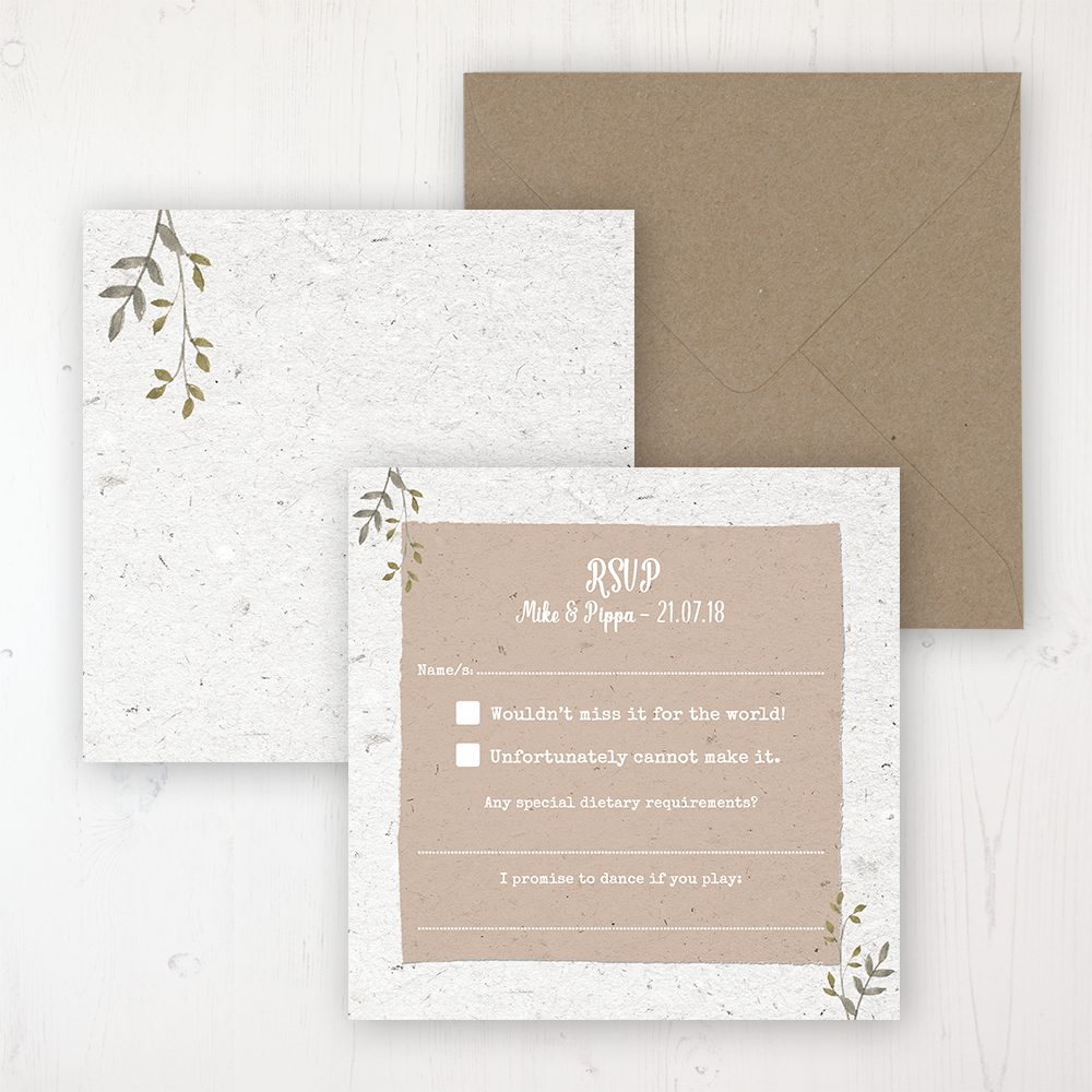 Botanical Garden Wedding RSVP Personalised Front & Back with Rustic Envelope