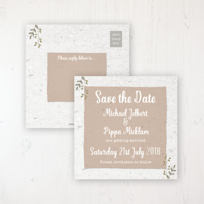 Botanical Garden Wedding Save the Date Postcard Personalised Front & Back