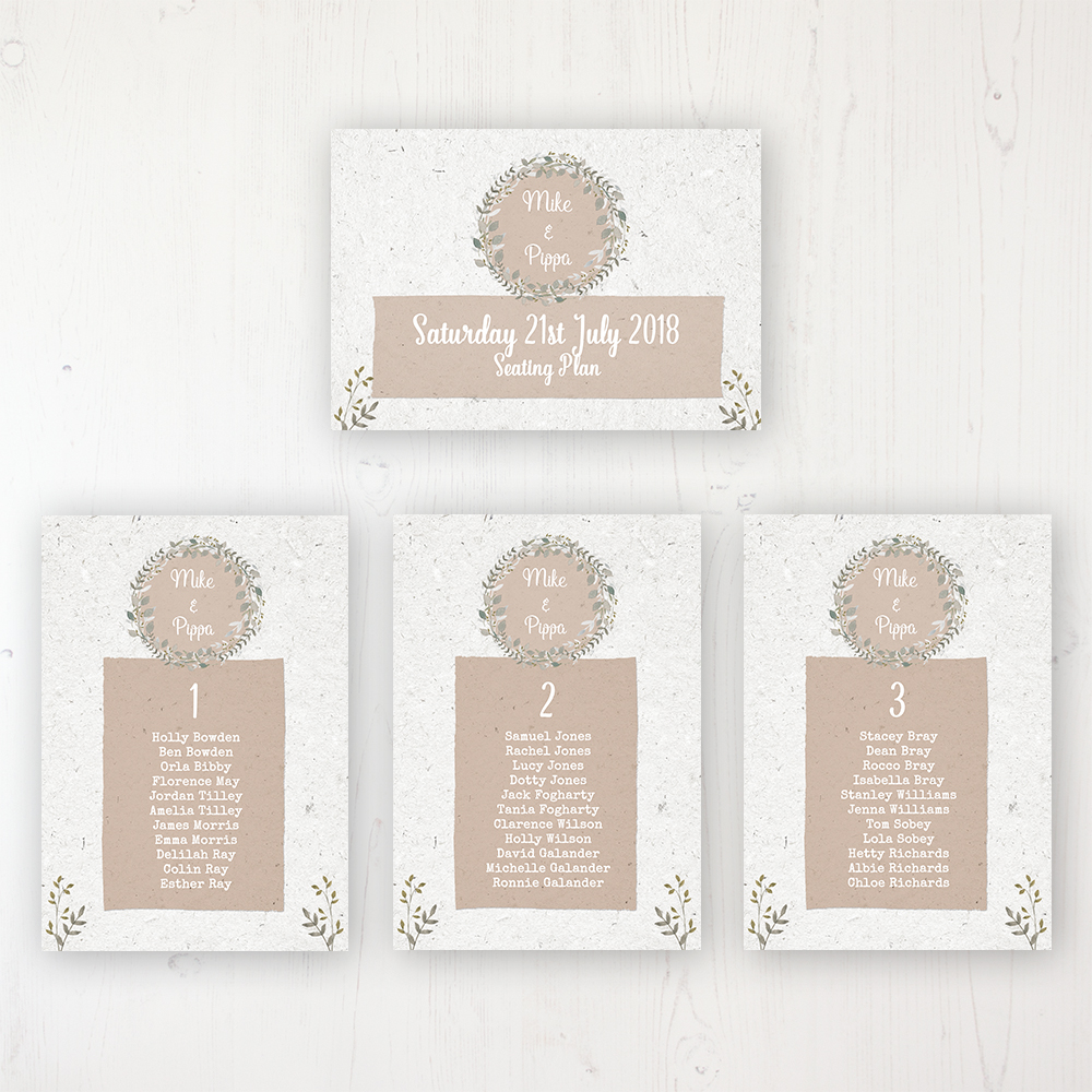 Botanical Garden Wedding Table Plan Cards Personalised with Table Names and Guest Names
