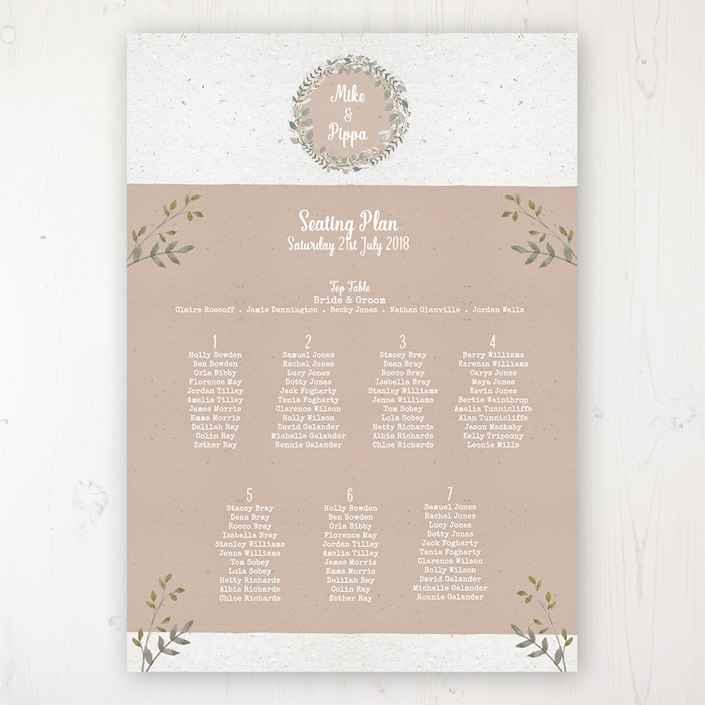 Botanical Garden Wedding Table Plan Poster Personalised with Table and Guest Names