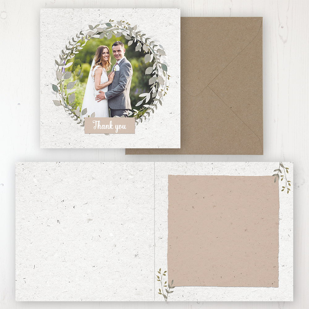 Botanical Garden Wedding Thank You Card - Folded Personalised with a Message & Photo