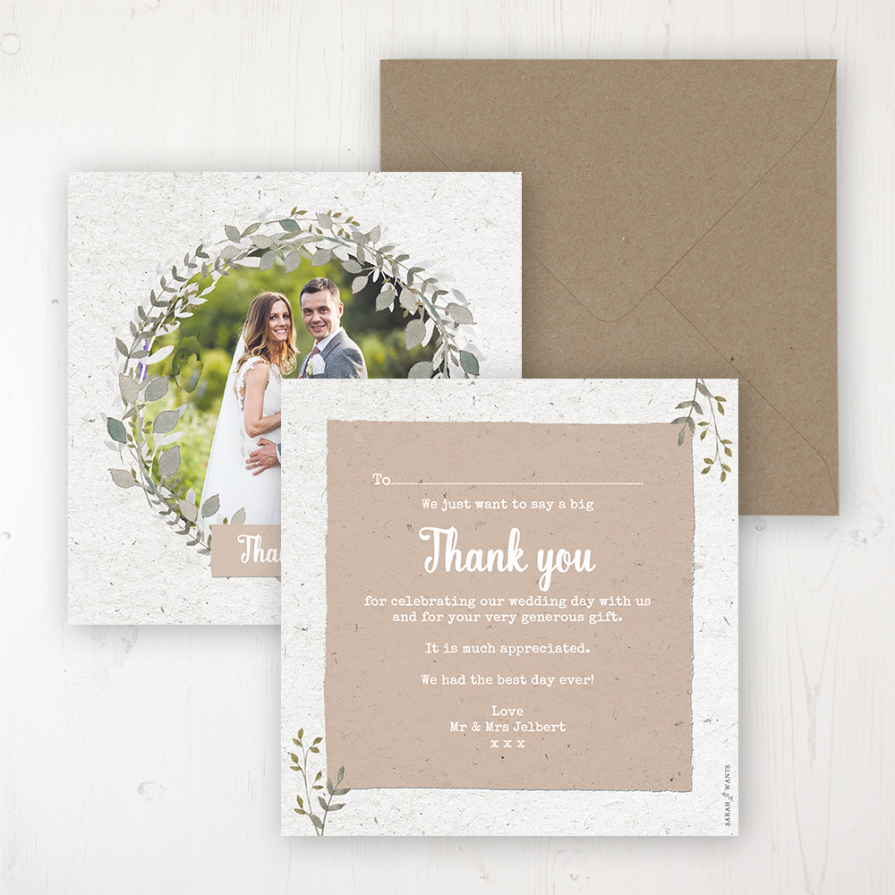 Botanical Garden Wedding Thank You Card - Flat Personalised with a Message & Photo
