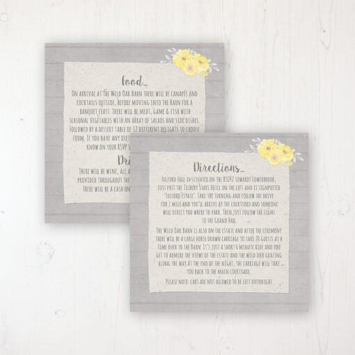 Buttercup Flutter Wedding Info Insert Card Personalised Front & Back