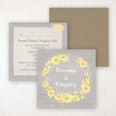 Buttercup Flutter Wedding Invitation - Flat Personalised Front & Back with Rustic Envelope
