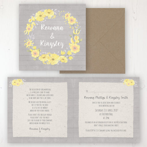 Buttercup Flutter Wedding Invitation - Folded Personalised Front & Back with Rustic Envelope