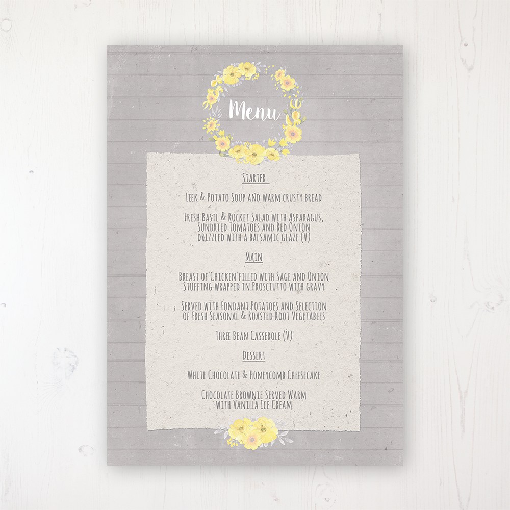 Buttercup Flutter Wedding Menu Card Personalised to display on tables